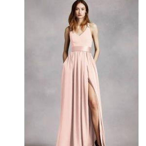 V Neck Halter Gown in Blush